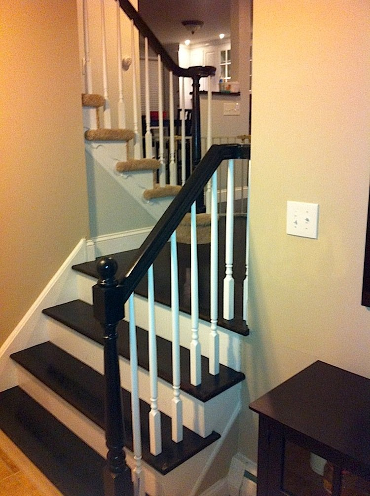 Painting Foyer Stairs : Hold on to this refinished railing laffco painting