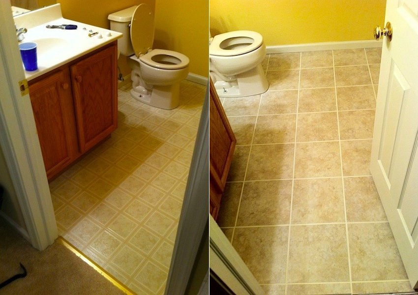 Bathroom tile installation in collegeville laffco painting for Painting bathroom tile before and after